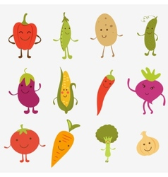 Happy farm vegetables vector image