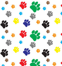 Pattern color dog animal foot print vector image vector image