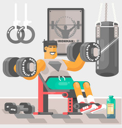 strong bodybuilder sportsman weightlifter doing bi vector image vector image