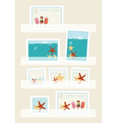 Summer postage stamps collection vector image