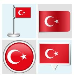 Turkey flag - sticker button label flagstaff vector image vector image