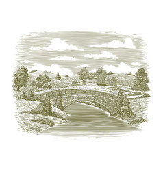 woodcut bridge scene vector image vector image