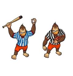 Cartoon gorilla playing baseball and rugby vector image