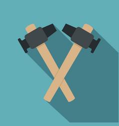 Crossed blacksmith hammer icon flat style vector