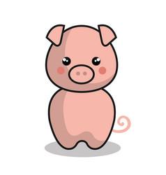 cute pig kawaii style vector image