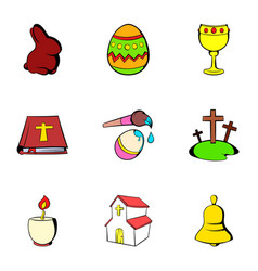 easter icons set cartoon style vector image vector image