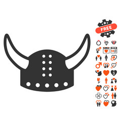 horned helmet icon with dating bonus vector image vector image
