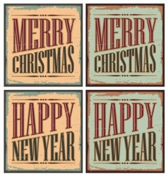 Vintage style Christmas tin signs - Christmas card vector image