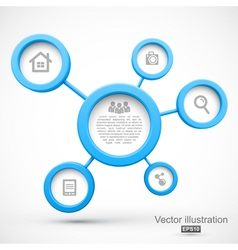 Abstract network with circles 3D vector image vector image