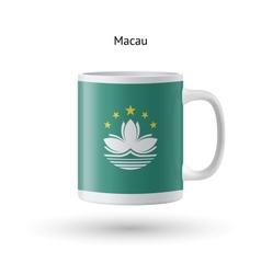 Macau flag souvenir mug on white background vector