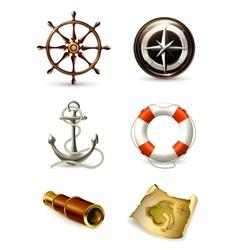 Marine set high quality icons vector image