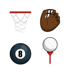 Sports equipment flat icons vector