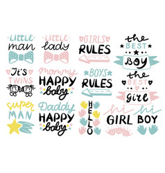 13 children s logo with handwriting little man vector
