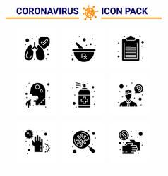 9 solid glyph black viral virus corona icon pack vector image