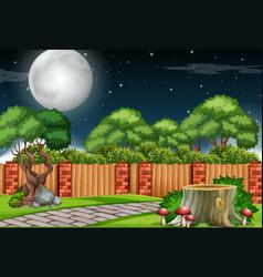 a garden scene at night vector image