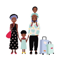 African american family on vacation mother vector