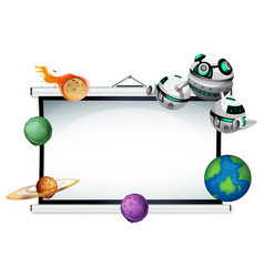 an empty projector screen space theme vector image