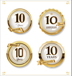 Anniversary golden labels retro vintage design vector