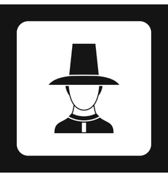 Asian man in hat icon simple style vector image