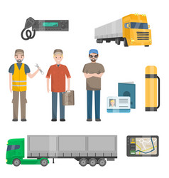 Auto mechanics trucker cargo trailer truck road vector