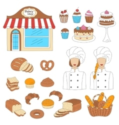 Bakery collection hand drawn doodle style vector image