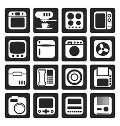Black home and office equipment icons vector