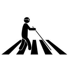 Blind person on crosswalk with white cane stick vector