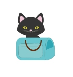 Blue pet carrier bag travel vector