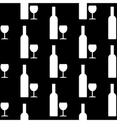 Bottle and glasse icon seamless pattern vector