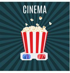 Box of popcorn and 3d cinema glasses vector