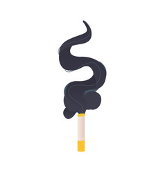burning cigarette with big cloud of black smoke vector image