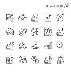 business management line icons editable stroke vector image