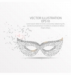 Carnival face mask low poly wire frame on white vector