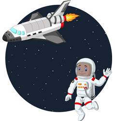 cartoon boy astronaut with space shuttle vector image
