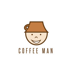 cartoon coffee man with cup on head design vector image