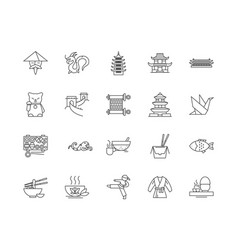 china line icons signs set outline vector image