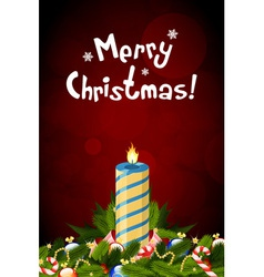 Christmas Card with Decorations and Candle vector image