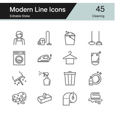 cleaning icons modern line design set 45 vector image