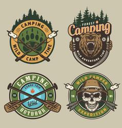 Colorful summer adventure vintage emblems vector