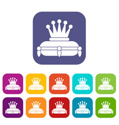 Crown king icons set vector
