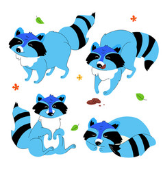 cute cartoon racoon - set flat design style vector image