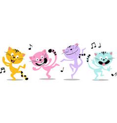 Dancing cat and music - funny flat design vector