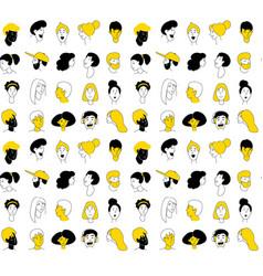 decorative diverse women men head seamless pattern vector image