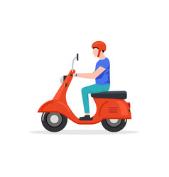 delivery man motorbike logo icon scooter bike vector image
