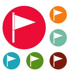 Destination flag icons circle set vector