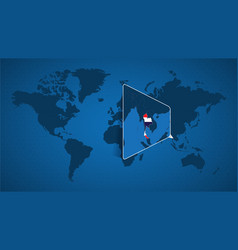 detailed world map with pinned enlarged map vector image