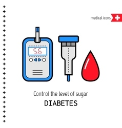 Diabetes Medical flat icons Check the level of vector image