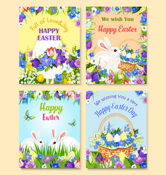 easter paschal eggs bunny greeting cards vector image