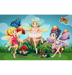 Fairies flying in the garden with butterflies vector image