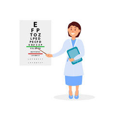 female ophthalmologist holding digital tablet and vector image